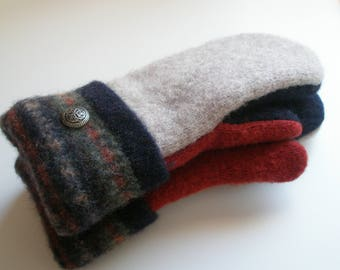 Wool MIttens Felted Recycled Wool Sweaters Fleece-lined Warm Cozy Tan, Navy and Rust Sweater Mittens with Decorative Multi-colored Cuff