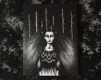 Forest witch - art print