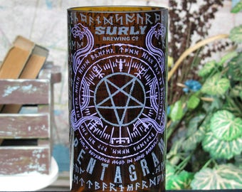 badass gift idea for men who have everything Surly pentagram gift custom tumbler best beer unique drinkers idea recycled beer bottle present