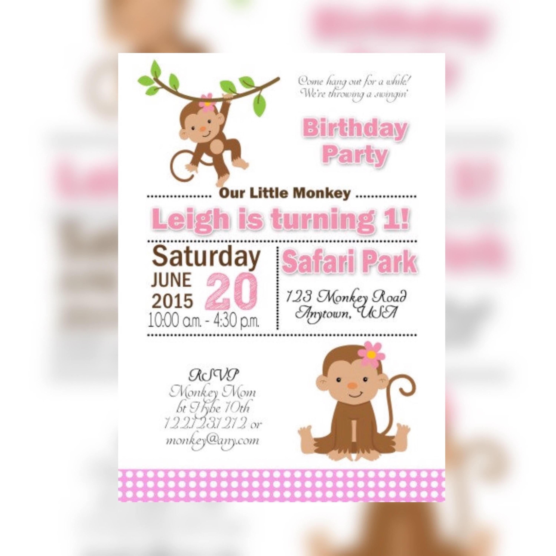 Pink Little Monkey Birthday invitations, Monkey First Birthday ...