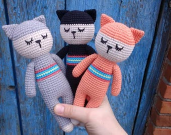SALE -15% Adorable Crochet Amigurumi Stuffed Gray Orange Black Cat Toy Handmade Plush Kitten Toy Present for Baby Shower