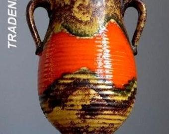 Vintage 60-70's DUMLER&BREIDEN Art Deco Style Vase West German Pottery Fat Lava