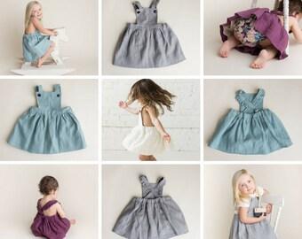 Girls Linen Pinafore Dress - Girls Linen Dress - Girls Pinafore Dress - Vintage Style - Natural Linen Dress - Toddler Dress - Linen Clothes