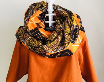 Infinity Scarf - African - OBI Scarf - Autumn