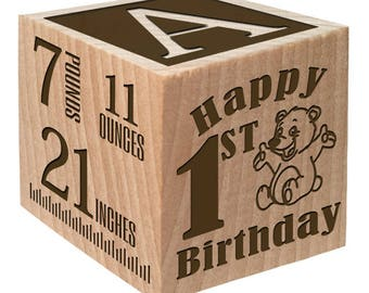 1st Birthday - Personalized Baby Gift Birth Wooden Block Personalized Baby Block Baby Newborn Keepsake Baby Girl Baby Boy 1st Birthday Gift