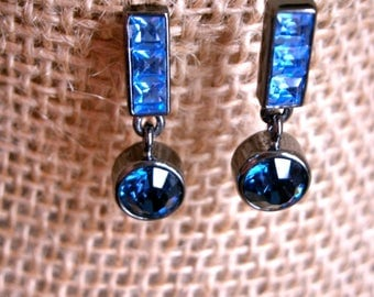 Vintage Givenchy Blue Crystal Earrings