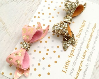 Pink hair bow, gold hair bow,gold glitter, baby bow, girls hair accessories,