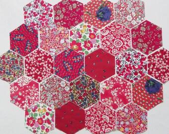 60 Red Liberty Tana Lawn Fabric Precut Hexagons