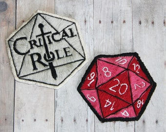D&D Patch. Critical Role Patch. Hand Embroidered Patches. Sew On Patches