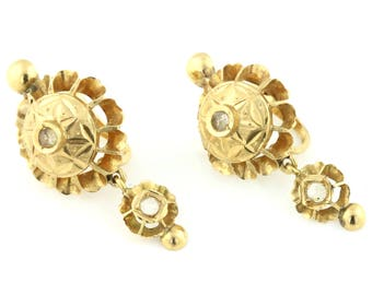 18ct Gold Iberian Rose Cut Diamond Earrings c.1800