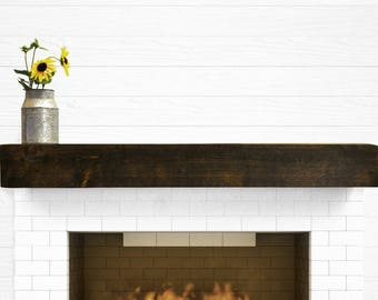 60 Inches Floating Rustic Beam Mantel by 5 1/2 inches by 5 1/2 inches