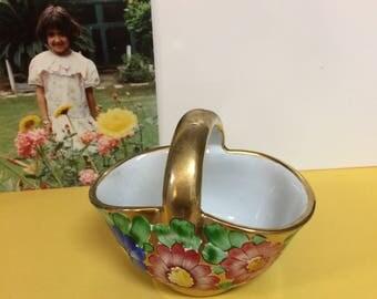 Vintage Italian Porcelain Basket, Citta  Dei Ragazzi Roma Souvenir