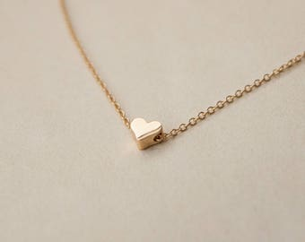 tiny heart necklace - gold heart necklace - simple delicate necklace - dainty necklace -  everyday jewelry - bridesmaid gift
