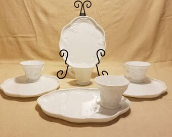 Vintage Harvest Milk Glass by COLONY Luncheon Plate Set of 4