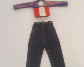 1970s Vintage Denim Americana Biker Barbie Clothes Jeans and Stars and Stripes Jacket