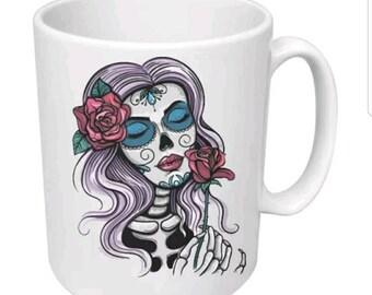 Beautiful woman sugar skull 11 oz. coffee mug