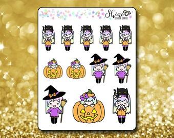 Luna Halloween Stickers - Planner Stickers Erin Condren Life Planner Cute Emoji Witch Character Girl Stickers ECLP Stickers Happy Planner