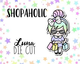 Shopaholic Luna DIE CUT - Traveler's Notebook Scrapbook Shopping Die Cut Planner Kawaii Character Doodle