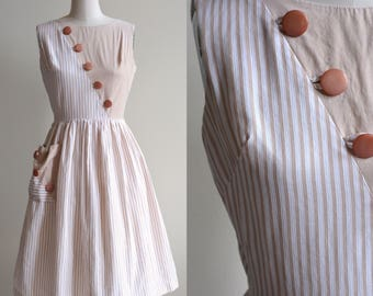 1950s Dress / Color Block Striped Dress / Vintage 50s Beige Cotton Striped Button Dress / Medium Large
