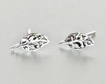Silver Leaf Studs, Tiny Silver Studs Body Jewelry, Simple Studs,  Cartilage Studs, Ear Studs, Gifts For Her, E211