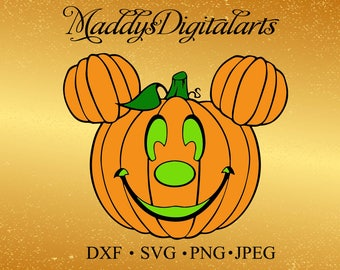 Mickey Mouse Pumpkin SVG DXF Png Vector Cut File Cricut Design Silhouette Cameo Vinyl Decal Disney Template Heat Transfer Iron on