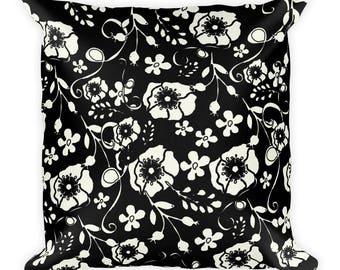 Black Floral Square Pillow