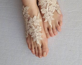 wedding shoes,summer shoes,costume shoes,barefoot sandals,Beaded, champagne  lace  shoes, wedding sandals,bridal accessories, free shipping!