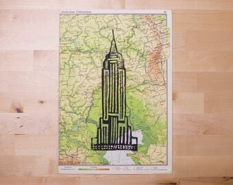 Empire State Building on map to linocut