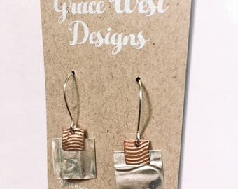 Handcrafted Sterling Silver, Inspired square and copper wave Earrings.  Abstract-Modern-Minimalist FREE POST