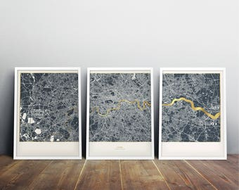 Set of 3 London Metallic Maps - Dark Background