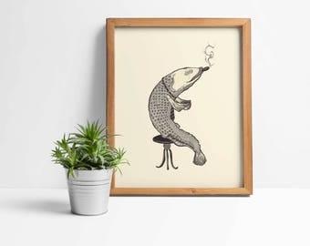 Smoking fish print, fish art print, fish wall art print poster decor, fish illustration, pointillism art