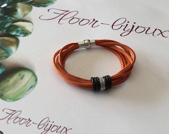 Synthetic suede orange suede bracelet 19.5 cm