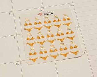 Yellow Polka Dot Bikini Stickers