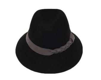 Black Wool Felt Hat with Grey Braided Suede Band