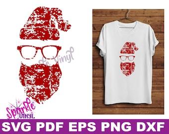 Svg Distressed Grunge Christmas Santa shirt svg cut file for cricut or sihouette, Christmas Decor printable, Santa shirt svg,  Hipster Santa