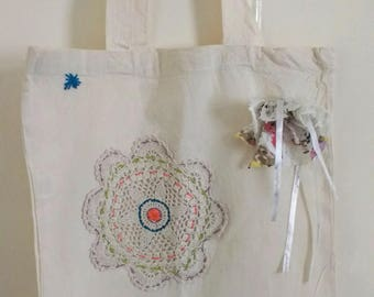 Cute Cotton Tote Bag pretty Embroidered Shopping Market Reusable Folding Bag