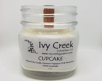 Cupcake Candle, Cupcake, Natural Candle, Wood Wick Candle, Crackle Candle, Soy Candle, Wood Wick Candle, Gifts for Her, Fall