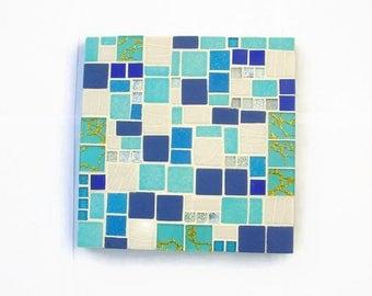 Blue flat mosaic coasters