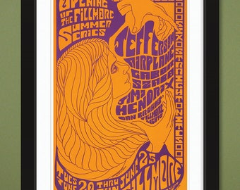 Fillmore Auditorium – Jimi Hendrix & Jefferson Airplane Concert Poster 1967 (12x18 Heavyweight Art Print)