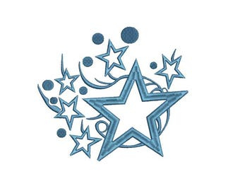 Embroidery Design star stars space  Instant Email Delivery Download Machine embroidery design