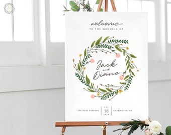 Wedding Welcome Sign, Welcome Wedding Sign, Welcome Sign, Welcome to Wedding, Printable Welcome Sign, Floral Welcome Sign, printable #GPW