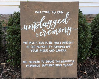 Unplugged Ceremony Sign | Wooden Wedding Sign | Wood Ceremony Sign | Wedding Decor | Rustic Wedding