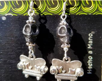 Couch Tour, Dangle Earrings, Skull, SYF, Silver tone, Sofa, Black, Dead & Co.