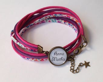 Bracelet personalized Liberty and suede - pink, purple, flowers