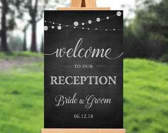 Wedding reception welcome sign - welcome to our reception - rustic wedding reception sign - PRINTABLE - 16x20 - 18x24 - 20x30 - 24x36