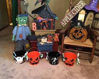 Metal Halloween Treat Bucket