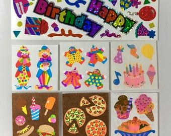 Vintage Sandylion Happy Birthday Sticker Lot. Pizza, Clowns, Ice Cream Sundae, Cake, Party