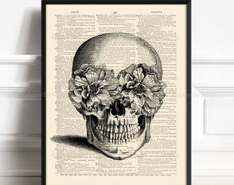 Floral Skull Print, Sugar Skull, Sister Poster Gift, College Room Wall, Skull Artwork, Funny Home Art, Anatomy Poster, Dictionary Paper  026