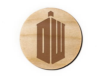 Dr Who Engraved Birch Coasters