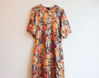 Vintage lurex hippie boho retro party dress S/M